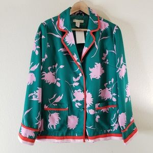 H&M Pink and Green Patterned Blazer